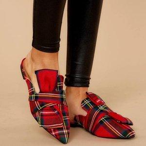 Las mujeres sandalias rojas de Verano de pisos sandalias de los zapatos de lujo punta estrecha trabajo de la mujer resbalón en Mocasín damas cómodo suave del paño Sandalia