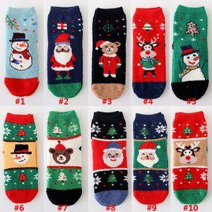 Nueva Navidad calcetines calientes del invierno de terciopelo de coral de Navidad medias muchacha de la personalidad de dibujos animados Elk calcetín Inicio Decoraciones de Navidad HH9-2527