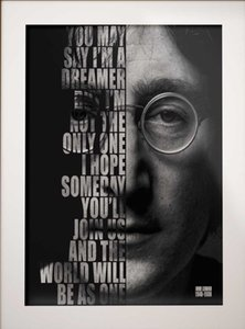 John Lennon Imagine Paroles Home Décor peint à la main HD Imprimer Peinture à l'huile sur toile mur toile Photos 191201
