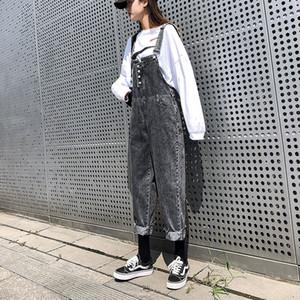 Sokak Modası Yeni Kadın kot dışı elastik Gevşek Artı boyutu küçük pantolon tulum Kız rahat pantolon cebi overalls