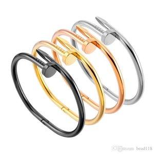 de acero inoxidable de acero de titanio pulsera de plata simple Uñas de Oro brazaletes de las pulseras del punk de los hombres de las mujeres mejor regalo de joyería