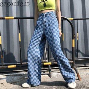 Gaganight Vintage Ekose Kadınlar Geniş Bacak Pantolon Moda Jeans Harajuku Kızlar Pantolon Chic Kore Cep Kadın Pantolon Denim Yıkanmış