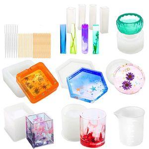 Silikon-Formen für Resin Epoxidgiessharzmassen Kunst Formen für Diy Cup Pen Soap Kerzenhalter Aschenbecher Blumentopf Anhänger Cy