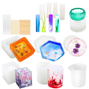 Silicone Moldes para resina epóxi Resina Fundição Art Moldes para Diy Cup Pen Soap Castiçal Cinzeiro Flower Pot Pendant Cy