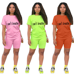 2XL Summer Women solid color outfits shorts two piece set short sleeve letter T-shirt shorts casual tracksuit designer jogger suit 3235