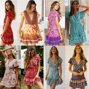 2020 manica corta veste le donne Estate New Bohemian Beach pieghe del V-collo Pendolo Flower donne vestito casuale Abbigliamento S-XL