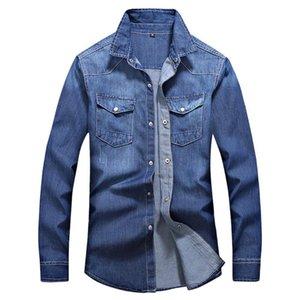 Feitong Streetwear Denim moda masculina camisa de abertura de cama Casual Collar manga comprida Outono Inverno Pockets Masculino Tops Blusa