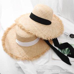 Hipster correas paja Lafite paja femenino del verano gran sombrero de playa vacaciones en la playa de protección solar del sol del borde del verano