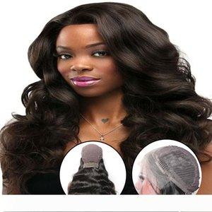 Pelucas delanteras BD Gran cordón del pelo humano peluca de la onda del cuerpo del cabello humano de Malasia Comprar 24 pulgadas del cuerpo de pelucas para mujeres Negro