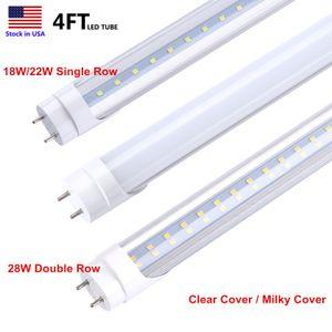 Светодиодная трубка 4ft 120CM LED T8 лампа 18W 22W 28W двойная концевая мощность SMD 2835 100LM / W без балластного стартера AC85-265V цена по прейскуранту завода-изготовителя