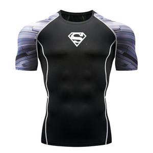 Erkekler Tişörtlü Nefes Vücut Erkek Sıkıştırma Süper Kahraman Spor 3D Baskı Gömlek Hızlı Kuru Kısa Kollu Spor