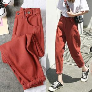 AprilGrass progettista di marca dei jeans delle donne pantaloni neri della molla Fidanzati Jeans per le donne harem sciolto del denim dei jeans dei pantaloni