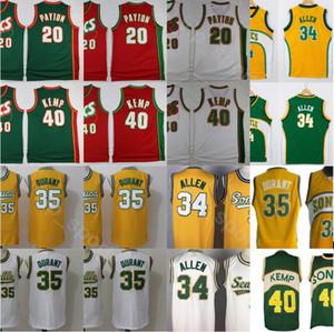 2020 Homens Vintage Esporte baratos costurado Jersey 20 34 35 40 Verde Vermelho Branco Amarelo Atacado Top Quality Drop Shipping
