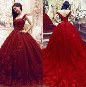 2020 Fashion Modest Bonbon 16 Quinceanera Kleider Ballkleid-Spitze 3D Blumen Appliques wulstige Maskerade geschwollene lange Abendkleid Formal Wear