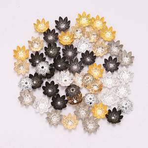 100 Pcs / Lote 8 10 mm Flor De Lótus De Prata Metal De Lona de bonés de protecção Cone de contas fieira de fiação de jóias