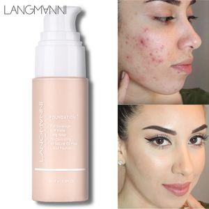Langmanni Soft Matte Liquid Foundation 30 ml Correcteur de teint correcteur d'huile 13Colors Base d'apprêt Contour Palette Fond de teint professionnel pour le visage