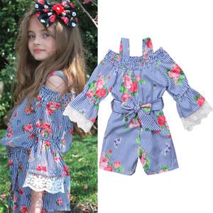 Baby girls Striped Flower print romper children Suspenders Strapless Jumpsuits 2019 summer fashion Boutique kids clothes C6107