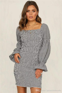 Diseñador para mujer corto plaza falda escocesa collar retro manga de la burbuja de vestir de manga larga de los vestidos ocasionales