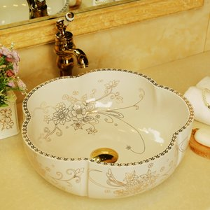 Europe style chinese Jingdezhen Art Counter Top ceramic vitreous china wash basin bathroom sinks