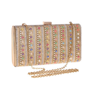 Designer-SEKUSA Style Bohème Coloré Perles Femmes Embrayages Sacs De Soirée Petits Strass Parti Sac À Main Chaîne Épaule Sacs À Main