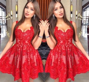 2020 Charming Red Lace Homecoming Dresses New Arabic A Line Spaghetti Straps Short Tulle Prom Cocktail Gowns Evening Dress