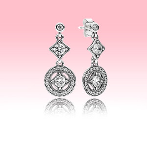 Mulheres Elegante Retrô Dangle Brinco CZ Diamante Casamento Jóias Com Caixa Original para Pandora Real 925 Esterlina Prata Brincos Conjunto