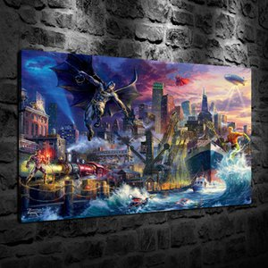 HD Printed Thomas Kinkade Oil Painting Home Decoration Wall Art on Canvas The Gotham Pier Unframed