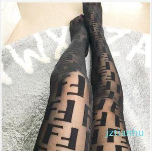 5 Cor Mulheres justas letras pretas Logo Meia-calça Sexy Fino Jacquard Romper Silk Stockings Feminino Verão Sexy Socks Lace Feminino Meias