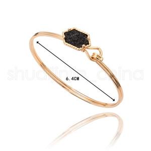 Gold Fashion Bracciale Donna Turchese classico placcato nastro Drusy Faux braccialetto di pietra Lady monili del partito regalo TTA1200-14