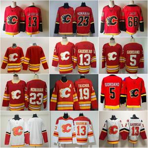 2020 Calgary Flames Hockey Jerseys 19 Matthew Tkachuk 13 Johnny Gaudreau 5 Mark Giordano 23 Sean Monahan costurado Shirts