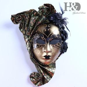 HD Full Face Venetian Jester Masquerade Máscara com Art Flor Mardi Gras parede decorativos Coleção SH190922