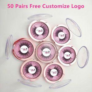 Free Put Logo 50 пар Оптовая 18Style Ресницы прозрачная полоса Ложные Ресницы перекрестном 3D норковые ресницы ручной работы глаз Lashes