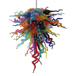 Modern Blown Glass Chandelier Lighting Multi Colored LED Chain Pendant Lights for Home Decor Living Room Dining Room Lamp 36 Inches