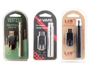 Ön ısıtma Vape Pil 350/650 / 1100mAh HUKUK V-Vape Değişken Onceden Vape Kalem 510 Konu USB Bireysel Blister paketi Vape Kalem Seti