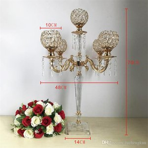 20PCS Acrylic Candelabras Luxury Candle Holders With Crystal Pendants Marriage Candlestick Wedding Table Centerpieces Home Decor