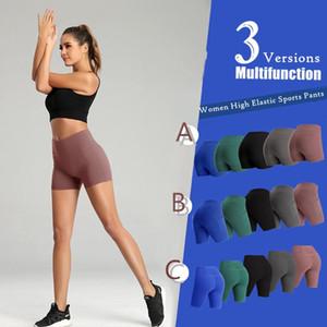 US STOCK Femmes Casual solide élastique taille haute Pousser Yoga Up Fitness Gym Running short stretch Sport Pantalon court 5 couleurs 3 Styles FY9090