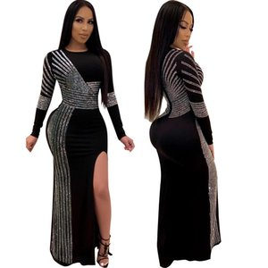 2019 Women Sexy Maxi Prom Dresses Ankle Length Long Party Dress Stripe Rhinestone Long Sleeve Zipper Side Slit High Waist Dress Black S-3xl