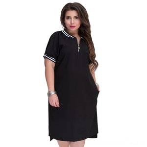 5XL 6XL 2020 Autumn Plus Size Straight Dresses Womens VNeck With Zippers Big Size Summer Casual Loose Solid Dress Red Vestidos