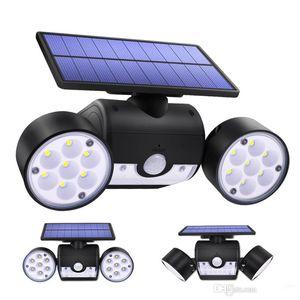 Capteur solaire Wall Light 30 LED à double tête réglable Angle LED Lampe de jardin pour Chemin Porte de jardin solaire Spotlight