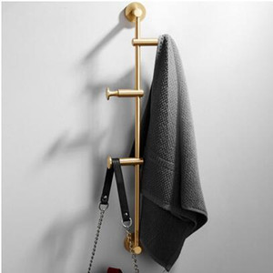 Bedroom Furniture clothes hanger wall coat rack 60cm Brass Cloth Hanger North European Wall Hook Bedroom Storage Cloth Holder Free Shipping