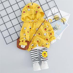HYLKIDHUOSE 2019 Bebés Meninas Roupas Ternos outono da criança Roupa infantil Define camiseta com capuz Stripe Pants Crianças Costume LY191227