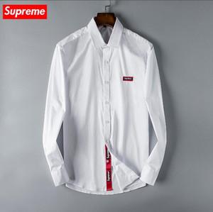 2019 Amerikan iş marka kendini yetiştirme ekose gömlek, moda tasarımcısı marka uzun kollu pamuklu casual gömlek çizgili ortak elbise gömlek