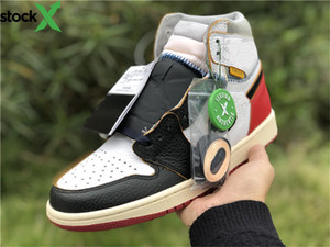 New Released Union x 1 High OG NRG 1s Jordon basketball Shoes Style Code BV1300-106 Black White Fashion Trainers Sports Shoes