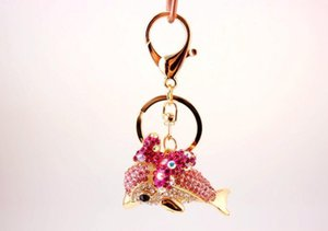 Cute Dolphin Keychain - Blingbling Crystal Key Chain Ring Gifts For Women Llaveros Handbag Charms Car Key Accessories Keychains