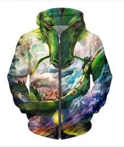 Lanzamiento Moda Hombres Mujeres Chaqueta de abrigo de manga larga con otoño deportes Dragon Ball Z Dragon impresión 3d cremallera Hoodies ropa más el tamaño RLM016