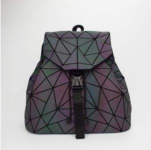 Donne Laser Designer-35 centimetri Luminous Zaino Grande spalla geometrica Sacchetto piegante studente di scuola Borse ragazza adolescente Ologramma Backpack