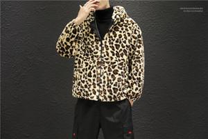 Cremallera chaquetas con capucha de varones ocasional del bolsillo de la ropa del estampado leopardo del diseñador del Mens chaquetas para hombre Moda caliente con paneles