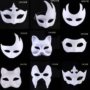 수제 펄프 축제 크라운 할로윈 하얀 얼굴 마스크 TTA1542 마스크 페인팅 메이크업 댄스 화이트 마스크 배아 금형