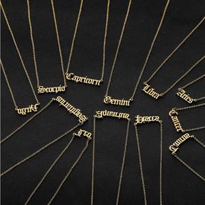 12 regalos Constelaciones Carta collares pendientes de cumpleaños para los hombres de las mujeres del color del oro del acero inoxidable del amuleto colgante signo del zodiaco joyería de Nueva