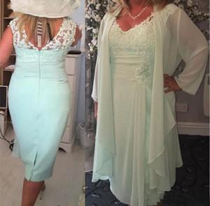 Plus la taille Sage Green Geather Mère de robes V cou en mousseline de mousseline de mousseline appliquée plis à genouillé longueur de mère robe de soirée robes formelles coutumes